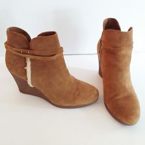 Ugg Brown Suede Wedge Booties with Straps & Studs